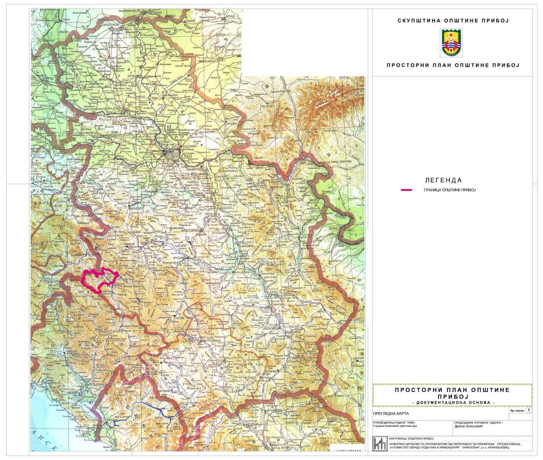 karta srbije reljef Urbanizam   Општина Прибој karta srbije reljef